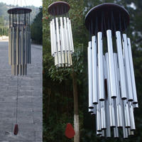 27 Tubes Wind Chimes Home Living Yard Garden Metal Craft Home Hanging Ornaments Gift Silver Tube Bells