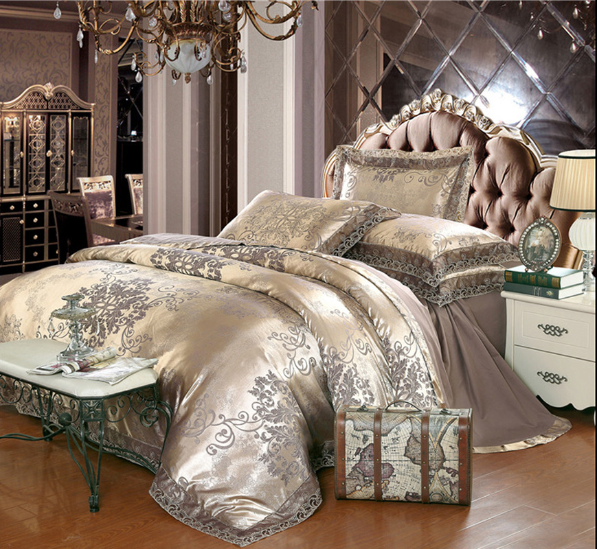 hot saleluxury noble european home textile 4pcs kingqueen size jacquard modal silk embroidery lace bedding bedspread setb3225