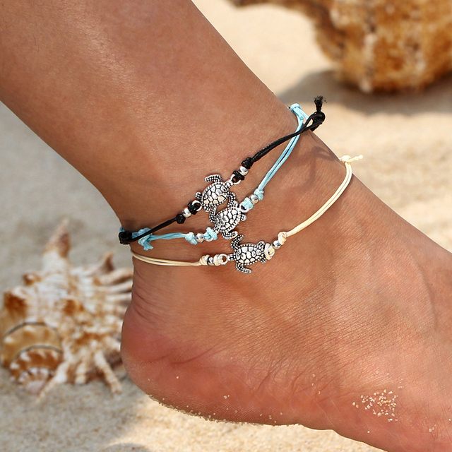 3pcs Vintage Multiple Layers Anklets for Women Bohemian Silver Turtle Rope  Anklet Sexy Beach Bracelet Chain Animal Foot Jewelry 2272dc178d9e