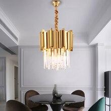 Современная хрустальная люстра освещение столовая кухня Остров спальня цепь подвесная люстра потолок золото/хромированный свет светильники