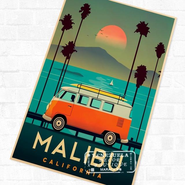 Drive to Malibu California Vintage Retro Travel Kraft Poster Decorative DIY Wall Sticker Home Bar Poster Decoration Kids Gift