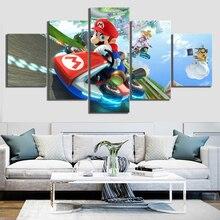 Mario Kart 8 Cartoon Game 5 Piece Modern Home Decor HD Print Wall Art Canvas Art For Living Painting Wall Art Home Painting
