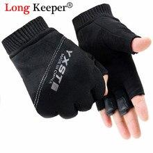 Долгосрочный бренд Мужские Спортивные Перчатки для фитнеса Осенние теплые замшевые перчатки для женщин без пальцев для вождения Guantes Luvas Ciclismo