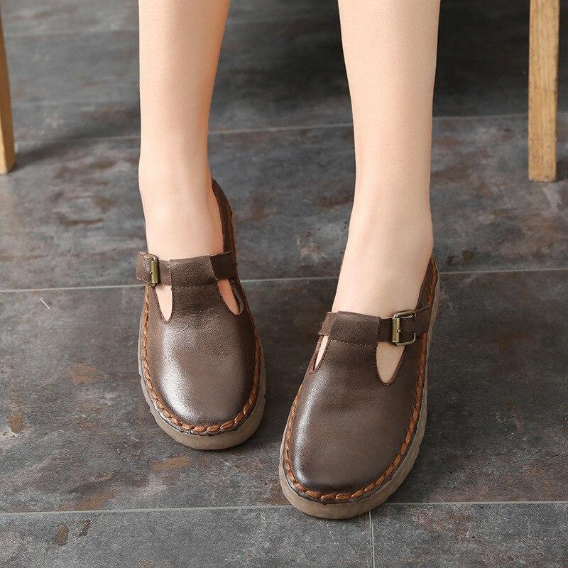 Décontracté 2019 Cuir Fond Style Chaussures Tyawkiho Main Appartements Printemps En À rouge brown Mou Paresseux La Mocassins Véritable Beige Femmes xwZq4I7fI0