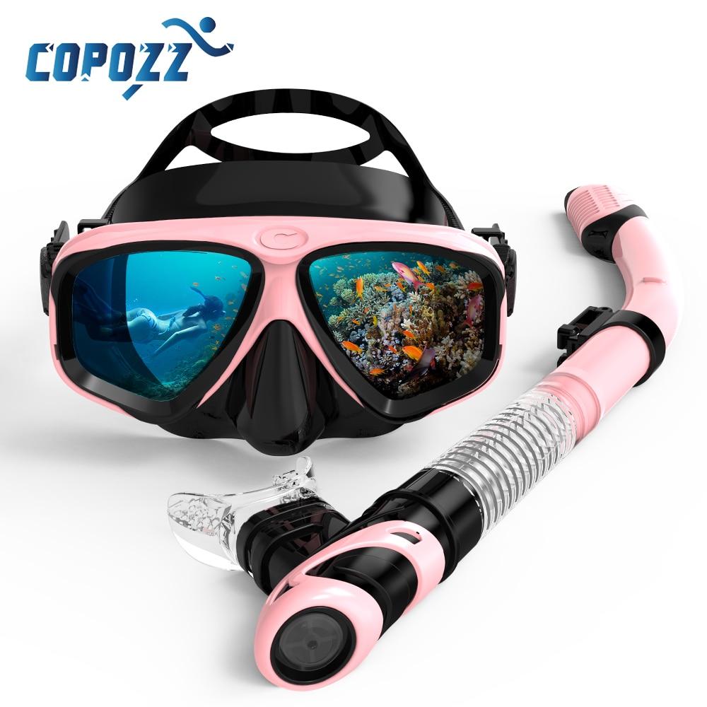 COPOZZ 2019 Scuba Diving Mask Set Anti Fog Goggles With Snorkel Glasses Tube Adjustable Strap For Women Men Adult Swimming Mask