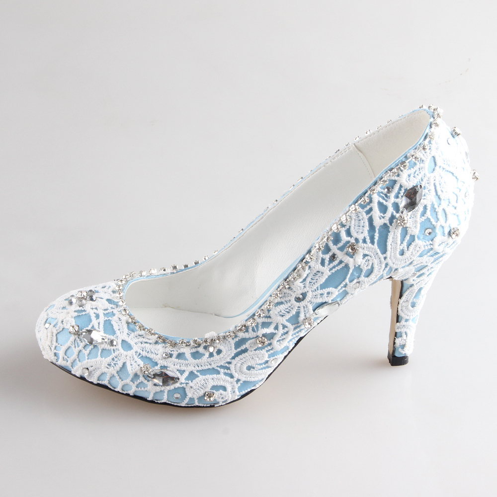 Creativesugar Handmade blue white two layer lace sewed crystal woman bridal shoes wedding party prom event pumps slip on heels
