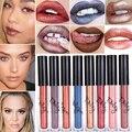 2016 Colores brillo de Labios Maquillaje de la Marca Caliente Impermeable duradera Tinte Terciopelo rojo Verdadero Marrón Labio Kit de Metal Barras de Labios Mucho Maquillaje