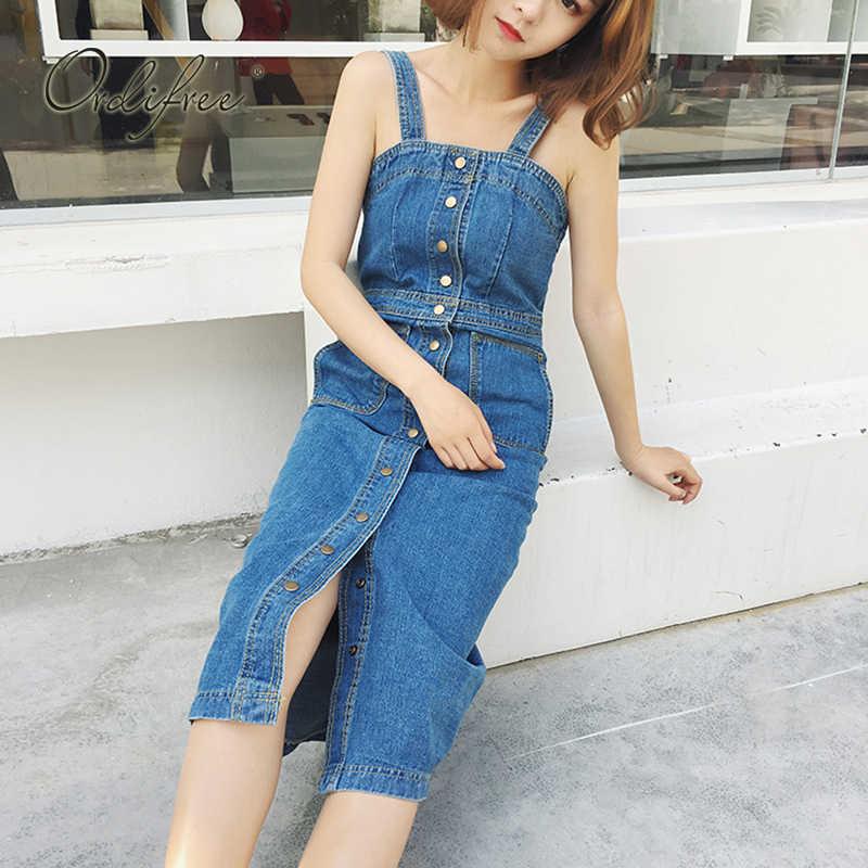6984b43e4b0 ... Ordifree 2019 летний женский джинсовый сарафан повседневные джинсы  платье Комбинезоны синий ремень сексуальное длинное джинсовое платье ...
