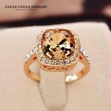 Розовое золото цвет королевский дизайн шампанского Кристалл циркония квадратные модные женские перстни рождественские подарки оптом