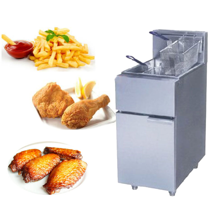 1PC FY 2G commercial Vertical GAS type fryer deep fryer fried furnace frying pan Two tube blast furnace gas