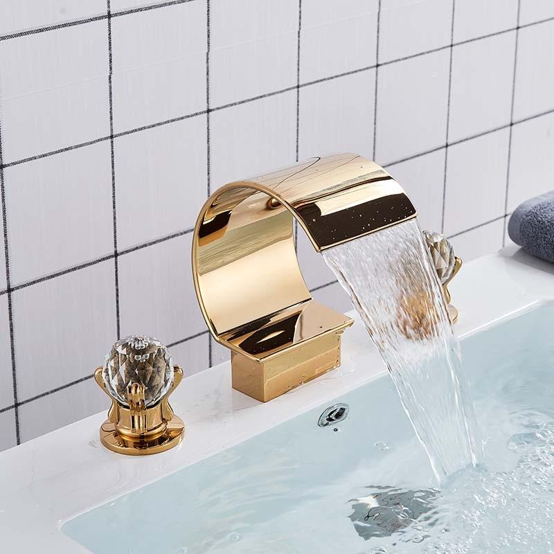 Waterfall Bathroom Basin Faucet Dual Single Handles Widespread Tap Deck Mounted
