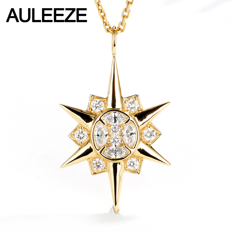 AULEEZE Sun Gold Diamond Pendant 18K Solid Yellow Gold 0.52CT Real Natural Diamond Pendant Necklace Match 18' Silver Chain bk 4371 18k alloy crystal artificial fancy color diamond pendant necklace golden 45cm