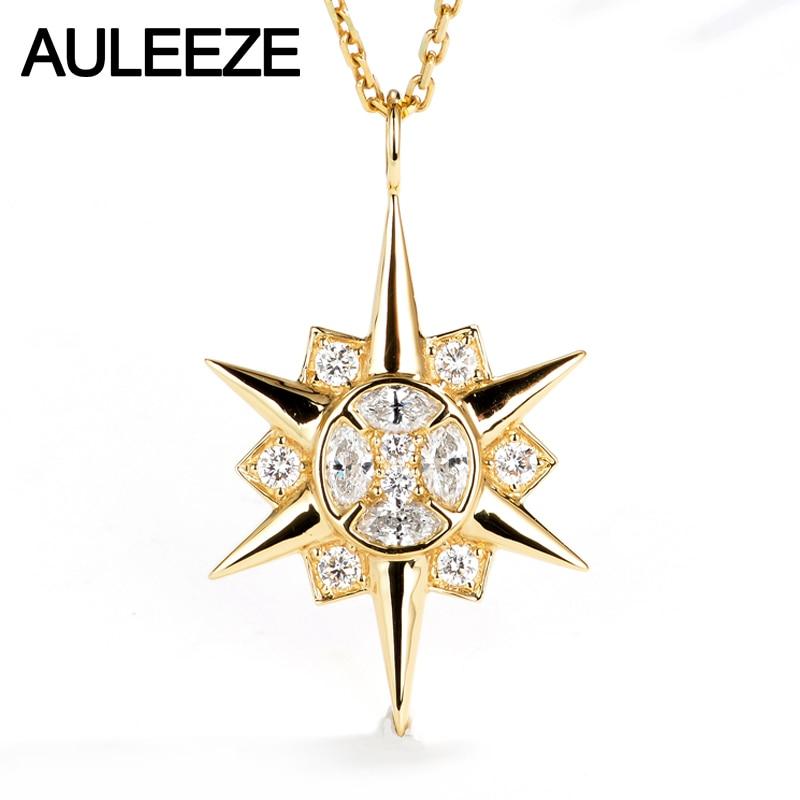 все цены на AULEEZE Sun Gold Diamond Pendant 18K Solid Yellow Gold 0.52CT Real Natural Diamond Pendant Necklace Match 18' Silver Chain