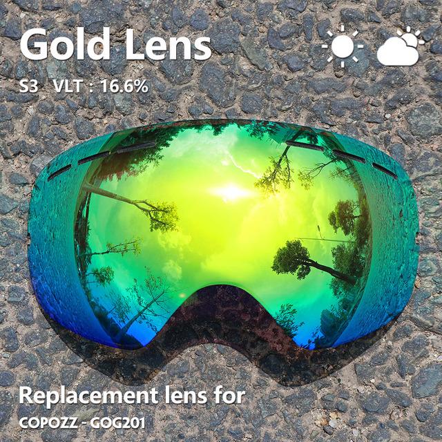 GOG-201 lens Ski Goggles Lens Anti-fog UV400 Big Spherical Ski Glasses Snow Goggles Eyewear Lenses Replacement(Lens Only)