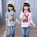 Rendas Crianças Menina T Camisas Lantejoulas Bebê Menina Roupa Dos Miúdos do Algodão Design de roupas Camisa de Manga Comprida T Camisa Dos Desenhos Animados T para Meninas