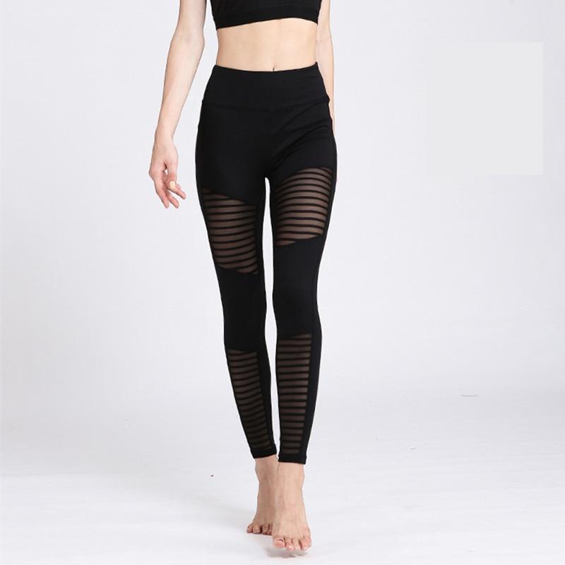 Women Yoga Pants Tight Mesh Breathe Quick Dry Sports Leggings Fitness Workout Gym Trainning Pilates Leggings Elastic Trousers