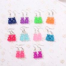 1pair Fashion Craft Resin glitter gummy bear Drop Earrings For Women Japan/Korean Jewelry Wholesale