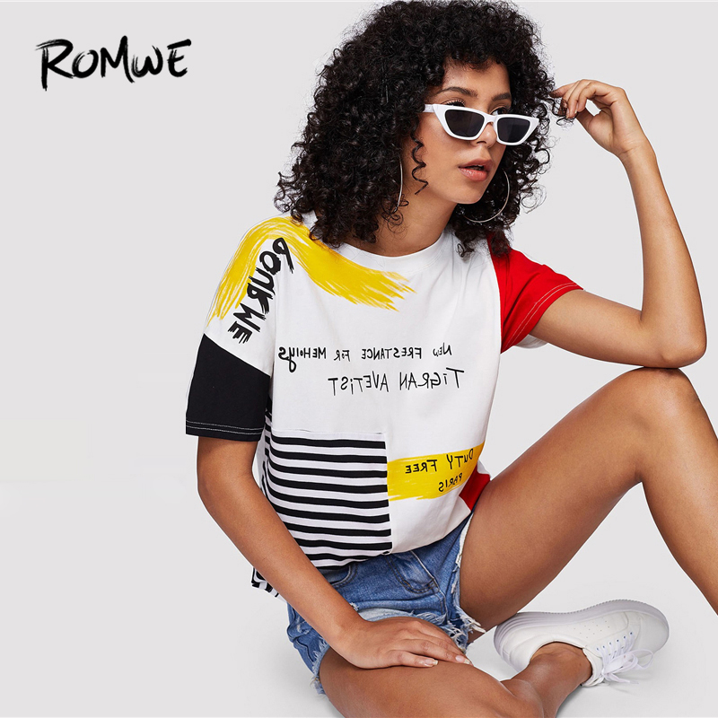 ROMWE Letter Print Striped Brush Tee 2019 Posh Graphic Streetwear Summer Tees Women Chic Round Neck Short Sleeve T Shirt