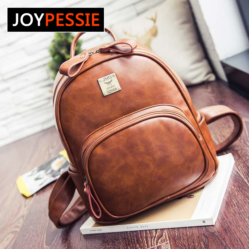 Joypessie Fashion Vintage PU Leather Backpacks For  Women Backpack School College Female Girls bagpack Mochila fxb1121 vintage tassel women backpack nubuck pu leather backpacks for teenage girls female school shoulder bags bagpack mochila escolar