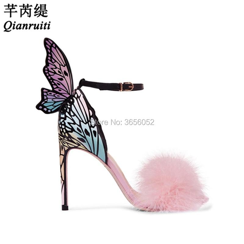 Mujer Ailes Chaussures Qianruiti Doux Multicolore Mince Dames Sandales Papillon Rose Pic D'été Plume Femmes Haute Fourrure As Talons Sandalias tw7r0qw