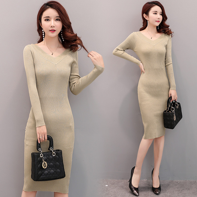 2018 Free Shipping Spring Autumn Women Work Wear Fashion Long Dresses Sweater Sexy Slim Black