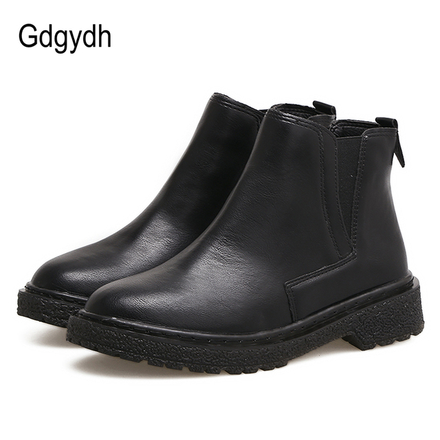 226b25b4375b8 Gdgydh Chelsea Boots Women Autumn Ankle Boots Rubber Sole Round Toe Women  Shoes Low Heels Comfortable