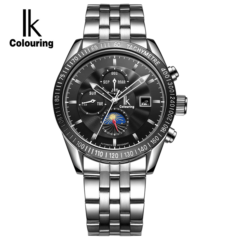все цены на  IK Colouring Moon Phase Date Week Month Automatic Mechanical Watches Men Luxury Top Brand Stainless Steel Sports Watch relogio  в интернете