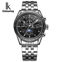 IK Colouring Moon Phase Date Week Month Automatic Mechanical Watches Men Luxury Top Brand Stainless Steel Sports Watch relogio