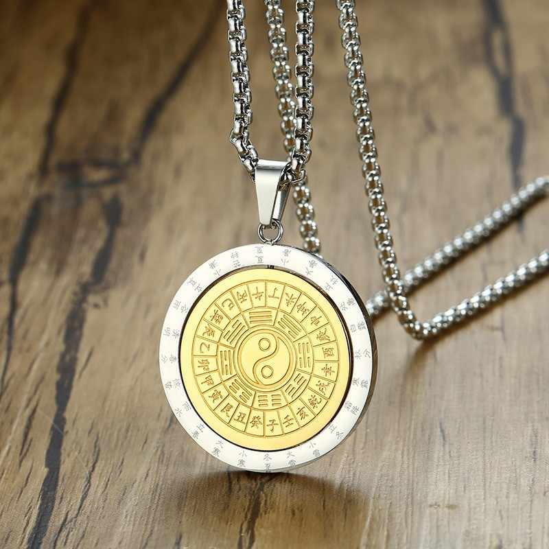 Rotatable Pendant Men Necklace Taoism Tai Chi Yi Yang Symbol Gossip Amulet Pray Lucky Male Accessories Christmas Gifts
