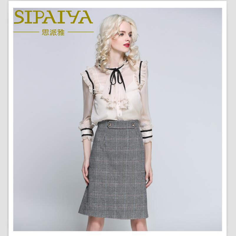 SIPAIYA Women Famous Brands Shirts Sexy Perspective Chiffon Blouse Women Korean Office Tops Pleated Drapped Ruffles Ties Collar