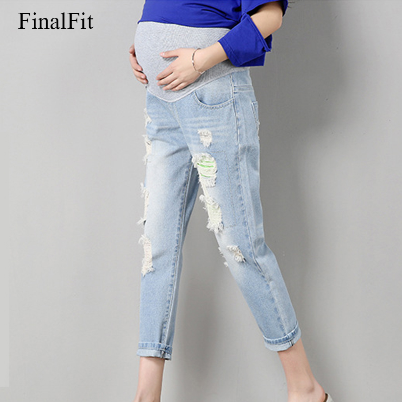 258bf08e31f34 M-3XL Maternity Capris Blue Cotton Hole Pregnancy Capris Jeans Pants Good  Quality Pregnancy Jeans