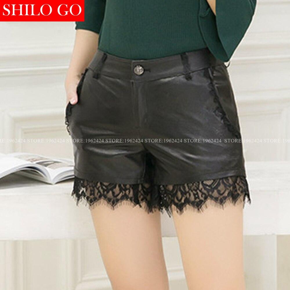 SHILO GO новые модные уличные женские ампир черные соблазнительное кружевное шитье шорты из натуральной овечьей кожи женские лаконичные шорты - 3