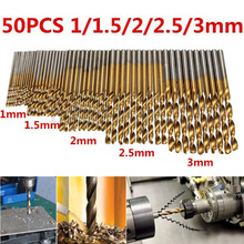 50Pcs Titanium Coated Drill Bits HSS High Speed Steel Set Tool Quality Power Tools 1/1.5/2/2.5/3mm