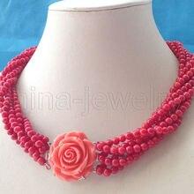 Женский подарок, женское серебряное ожерелье, натуральный красивый 6 ряд, 5 мм, Круглый красный коралл, ожерелье AAA, ожерелья