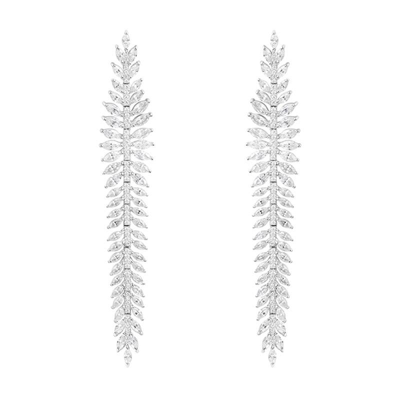 все цены на SKA Brand Drop Earrings For Women Olive Leaf 925 Sterling Silver Fashion Fine Jewelry Inlaid Zircon Monaco Earring AE10752OX