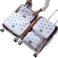 С рисунком 6 шт./компл. дорожные аксессуары комплект сетки хранения Чемодан Организатор Упаковка Cube для Костюмы нижнее белье мыть мешок