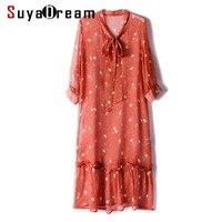 Women Summer Dress 100%Real Silk Georgette Transparent OL Dresses for Women 2019 New Knee Length Bow Collar Dress