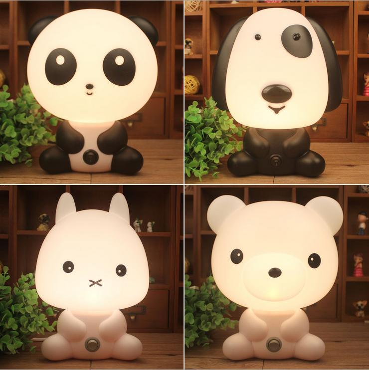 Desk Night Lights Baby Room Panda/Rabbit/Dog/Bear Cartoon Night Light Kids Bed Lamp Sleeping Night Lamp Table Lamp With Bulb cartoon kids light led beside toys kids pendant light lamp kids room night light for children bedroom hanging head lamp