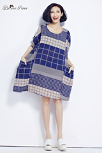 BelineRosa 2017 Large Size Dress Classical Cotton and Linen Plaid Summer Dress Clothes for Pregnant Women Fit 50~90KG TYW0209