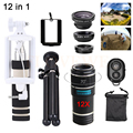 2017 Lentes de Kit 12X Zoom Telefoto Telescópio lente Do Telefone Fisheye Macro lentes grande angular para iphone 7 6 5s xiaomi samsung tripé