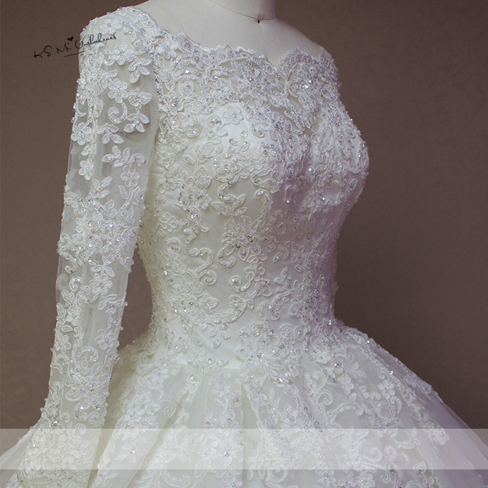 Puffy Vintage Long Sleeve Lace Wedding Dress Vestido De Noiva Manga Longa Bridal Dresses 2018 Beads Ball Gown Wedding Gowns