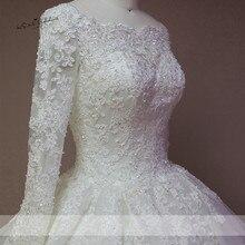 فستان زفاف من الدانتيل بأكمام طويلة منتفخ بتصميم عتيق من Vestido de Noiva Manga Longa فساتين زفاف من الخرز 2018 فساتين زفاف