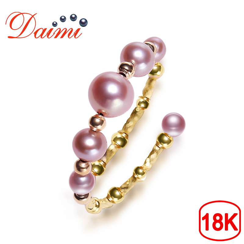 DAIMI Delicate Pearl Ring 18K Yellow Gold Ring Adjustale 5-5.5mm Pink Purple Color Perfectly Round Pearl Ring pearl beaded ring round neck tee