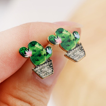 SMJEL New Fashion Tiny Vintage Cactus Plant Stud Earrings for Women Colorful Earrings Set Wholesale brincos Best Friend Gifts