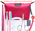 Eyebrow Makeup Kit Eyebrow pencil+Tweezers+brushes+Trimmer+Eyebrow mold+Cosmetic scissors+blade+Bag M2034
