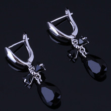 Captivating Water Drop Black Cubic Zirconia 925 Sterling Silver Dangle Earrings For Women V0775