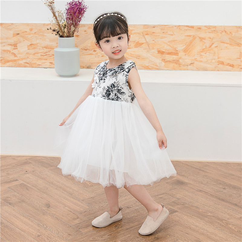 Childrens summer princess  girls Chinese style sweet dress frock shaggy in childrens ink yarn