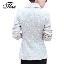 TLZC 2017 Autumn Fashion Women Blazer Jackets Plus Size S-5XL New Trend Shining Single Button Lady Suit Work Wear