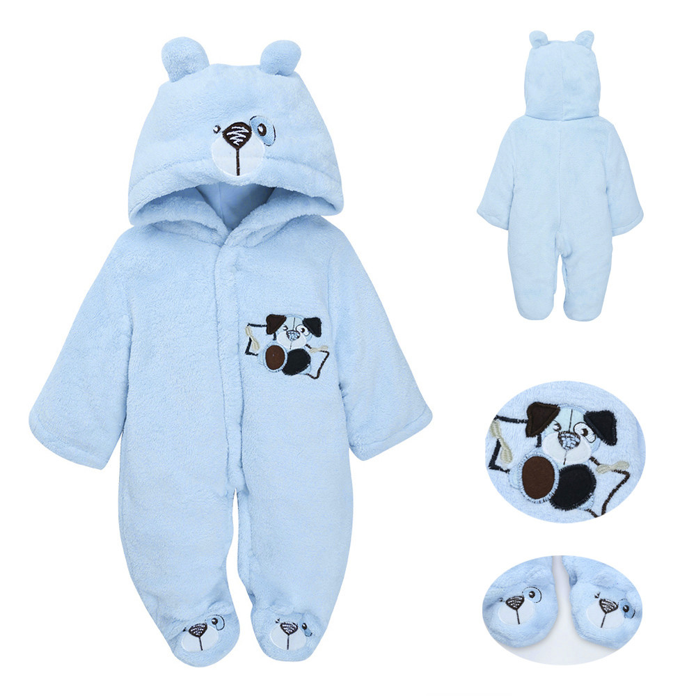 Mother & Kids 2018 New Baby Winter Rompers Lovely Bear Ear Shape Hooded Jumpsuit Toddler Kid Infant Winter Thicken Velvet Warm Rompers Outfit With The Best Service Bodysuits