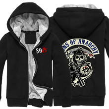 2016 new winter chaos son Hoodies Sweatshirts Sons of Anarchy cotton thickening plus cashmere straight casual men sweatshirt